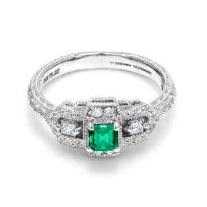 Platinum Vintage Style Emerald Diamond Cocktail Cluster Ring - OGI-LTD