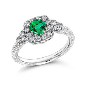 Platinum Colombian Emerald Diamond Vintage Syle Cocktail Cluster Ring - OGI-LTD