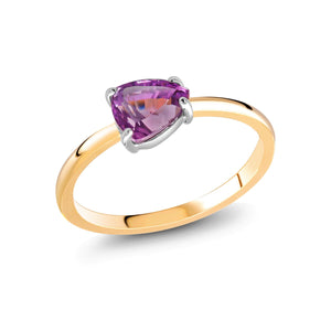 Pear-Shaped Ceylon Pink Sapphire White and Yellow Gold Cocktail Ring