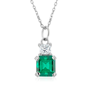 Emerald and Princess Diamond White Gold Drop Pendant Necklace