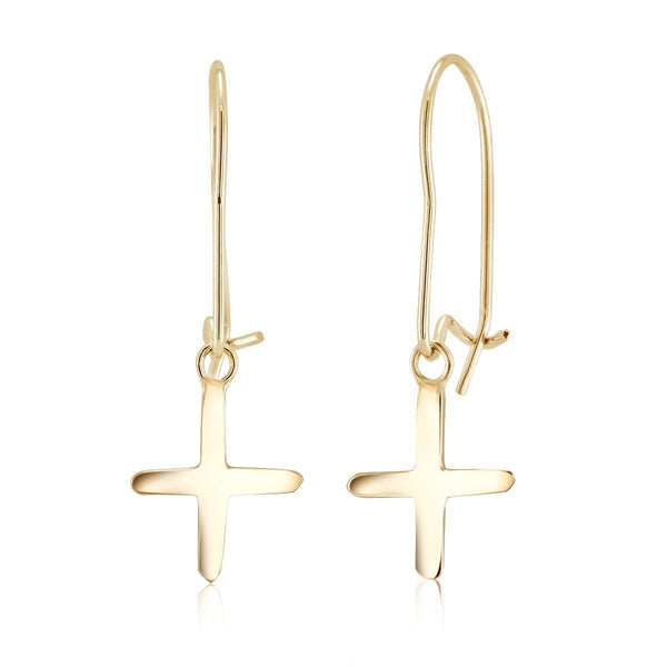14k Cross Hoop Drop Earrings - OGI-LTD