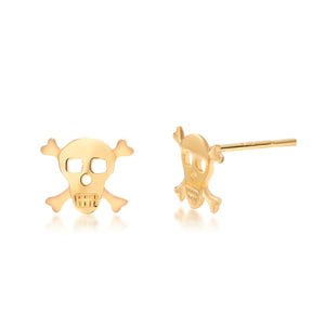 14 Karat Yellow Gold Skull Stud Earrings - OGI-LTD
