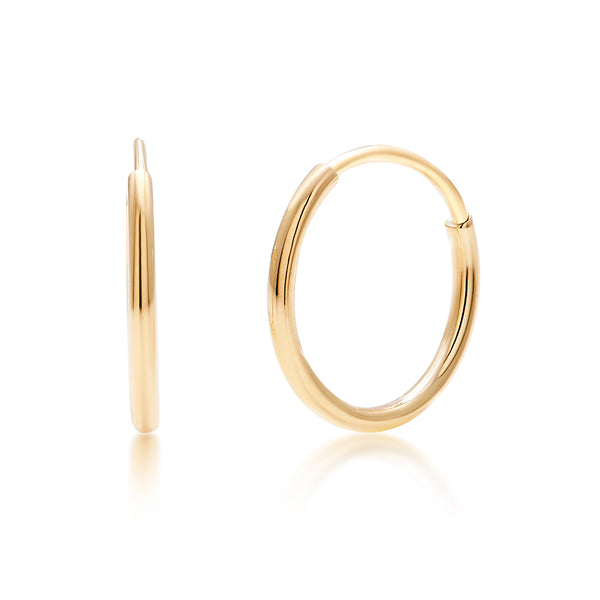 14 Karat Yellow Gold Endless Pair or Single Hoop Earrings - OGI-LTD