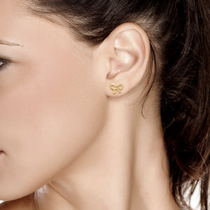 14 Karat Yellow Gold Graceful Bow Earrings - OGI-LTD