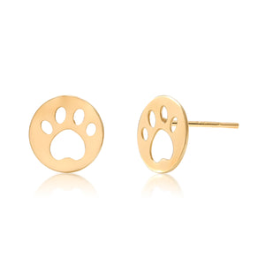 14 Karat Yellow Gold Paw Print Stud Earrings - OGI-LTD