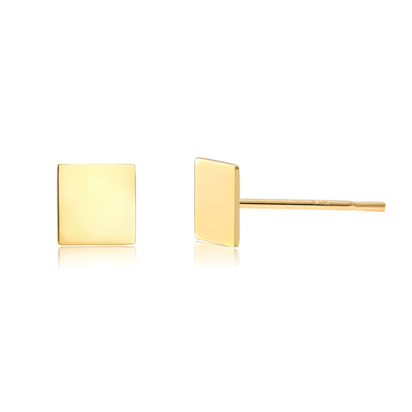14 Karat Yellow Gold Square Shape Post Pair or Single Earrings - OGI-LTD