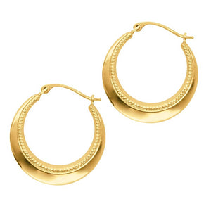 14 Karat Gold Granulation Design Hoop Earrings Measuring Half Inch - OGI-LTD