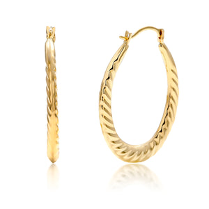 14 Karat Yellow Gold Ridged Oval  One Inch Hoop Earrings - OGI-LTD