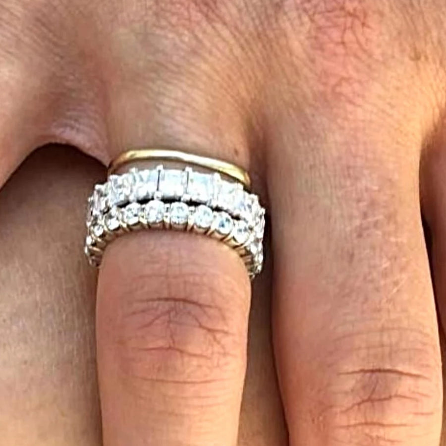 Gold Eternity Wedding Ring with Prong Set Princess Cut Diamond weighing 4.50 carats - OGI-LTD