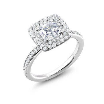 A White Gold Diamond Engagment Ring Ready for 1 Carat Diamond Center Stone, Double Halo Pave Set Setting