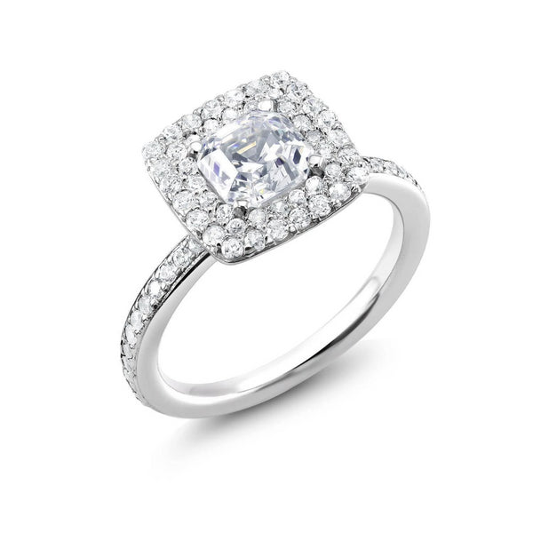 Double Halo 1.50 Carat Diamond Engagement Ring - OGI-LTD