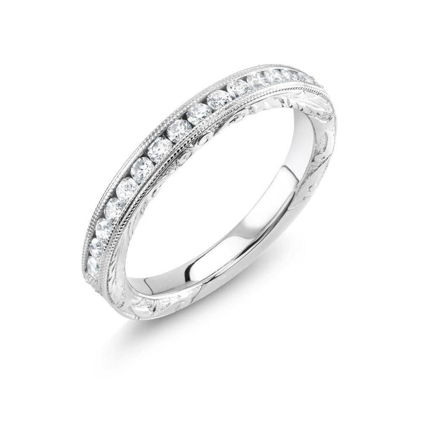 18 Karat Gold Diamond Hand Engraved Partial Wedding Band - OGI-LTD