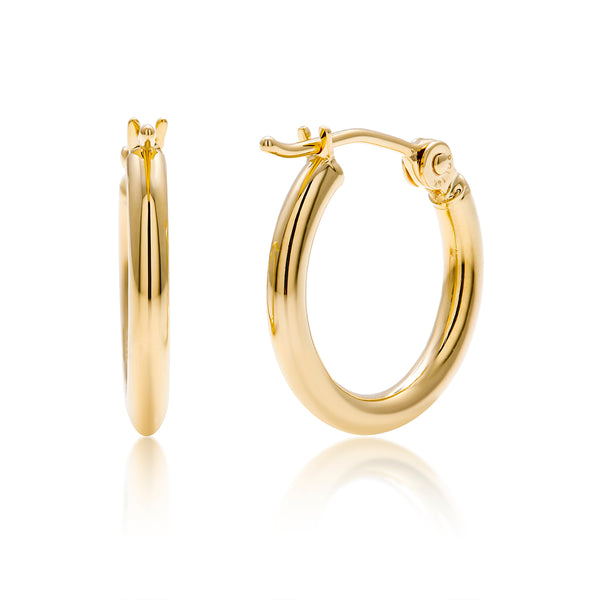 14 Karat Yellow Gold Hoop Earrings Measuring 0.60 Inch - OGI-LTD