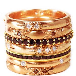 18 Karat  Rose Gold Diamond Flash Set Eternity Band - OGI-LTD