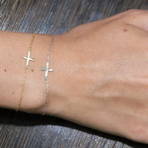 14 Karat White or Yellow Gold Cross Charm Bracelet - OGI-LTD
