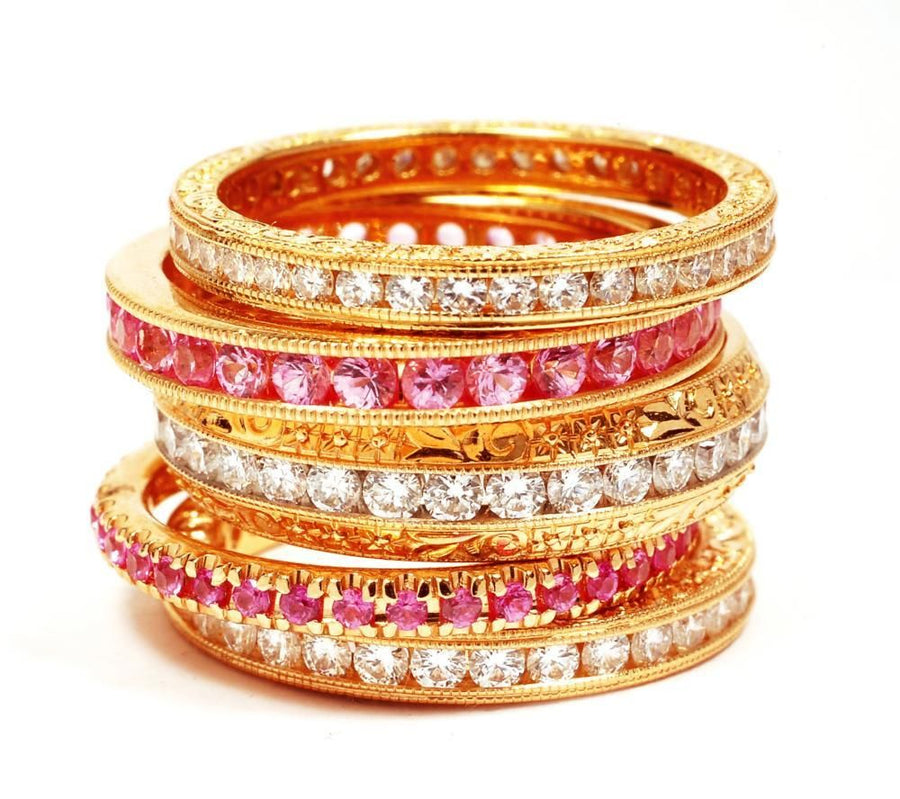 Pink Gold Eternity wedding Band, Prong-Pave Set with Diamond