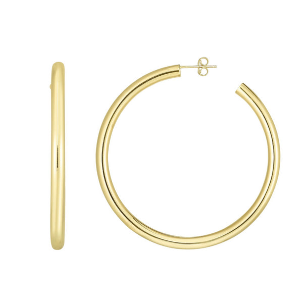 Large Yellow Gold Hoop Earrings 2.25 Inch Diameter 4 Millimeter Width - OGI-LTD