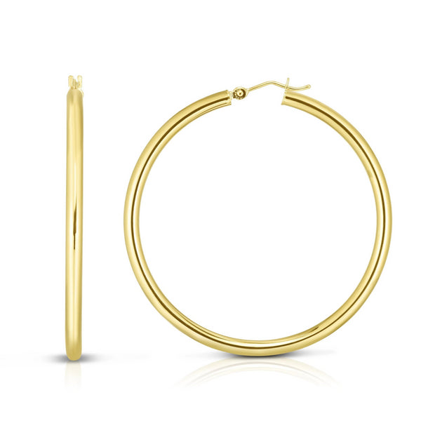 Large Yellow Gold Hoop Earrings 2.25 Inch Diameter - OGI-LTD
