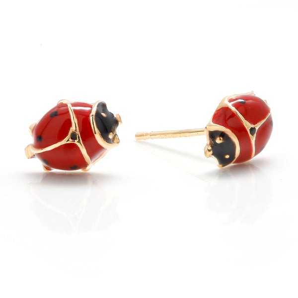 14 Karat Yellow Gold Enamel Ladybug Stud Earrings - OGI-LTD