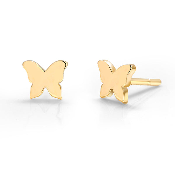 14 Karat Gold Butterfly Stud Earrings - OGI-LTD