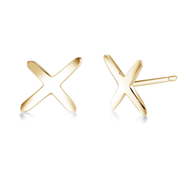 14K Gold Cross Stud Earrings - OGI-LTD