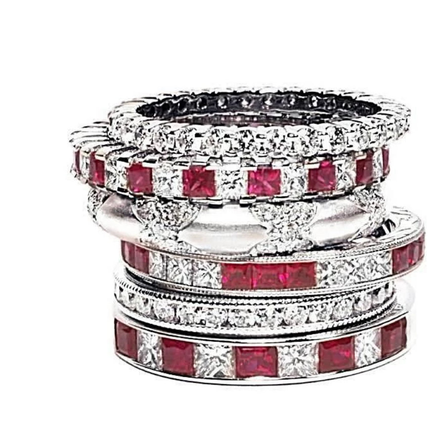 A White Gold Partial Ring with Princess Cut Diamonds with Princess Cut Ruby