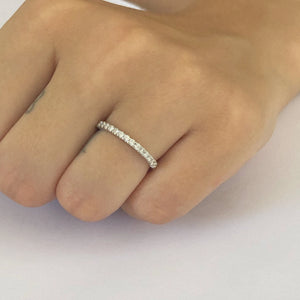 18 Karat Gold Prong Set Diamond Partial Wedding Ring - OGI-LTD