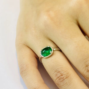 18 Karat Gold Cabochon Emerald Cocktail Ring - OGI-LTD
