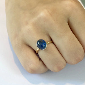 Ceylon Cabochon Sapphire 18 Karat White and Yellow Gold Fashion Ring - OGI-LTD