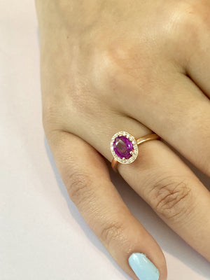 18 Karat Rose Gold Ring Diamond and Ceylon Pink Sapphire - OGI-LTD
