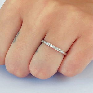 18 Karat Gold Micro Pave Diamond Half Circle Wedding Ring - OGI-LTD
