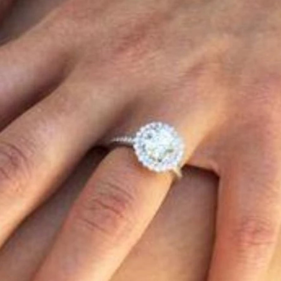 Platinum Engagement Ring with Double Halo Diamond Head Ready for 1.5 Carat Center Stone