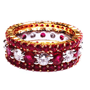 Platinum Ruby Diamond Partial Prong-Set Wedding Ring - OGI-LTD