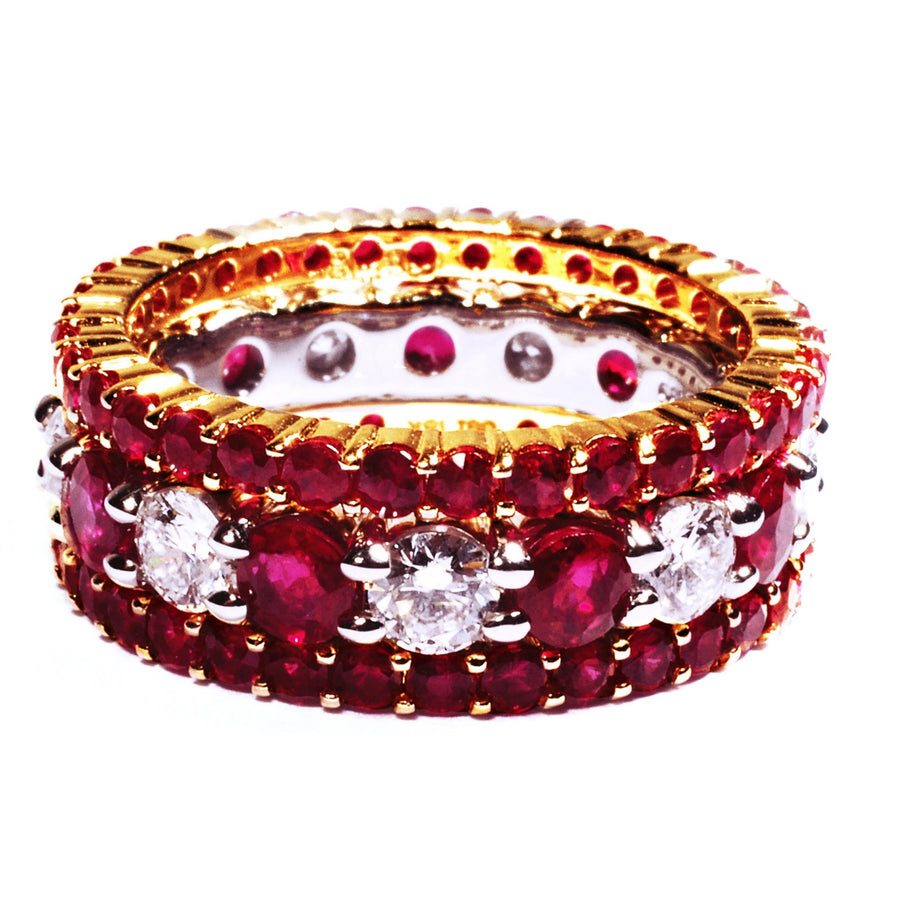 Platinum Half Circle Wedding Ring Prong-Set with Ruby and Diamond