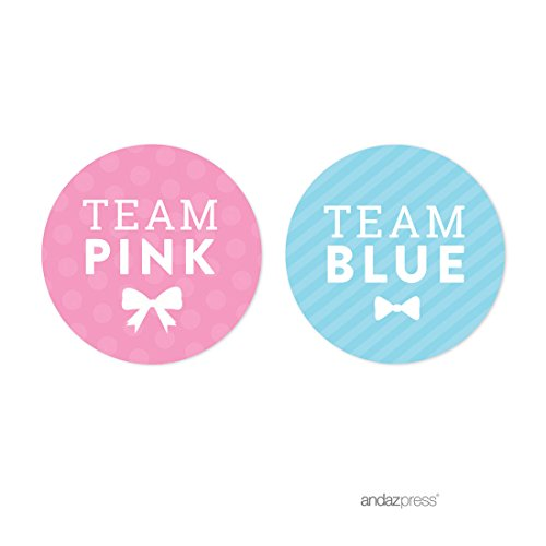 Andaz Press Team Pink Team Blue Gender Reveal Baby Shower Party, Round Circle Labels Stickers, Team Pink Team Blue, 40-pack, For Themed Party Favors, Gifts, Decorations