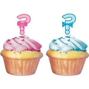 Gender Reveal ? Cupcake Toppers -24 Pack