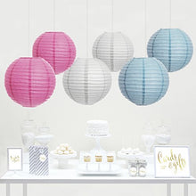 Andaz Press Hanging Paper Lantern Party Decor Trio Kit with Free Party Sign, Pink, Baby Blue, White, 6-Pack, For Gender Neutral Reveal Baby Shower Decorations