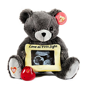 My Baby's Heartbeat Bear - Grey Gender Reveal Bear Stuffed Animal w/ 20 sec Voice Recorder Heart Sounds Bear - Gray Love Bear