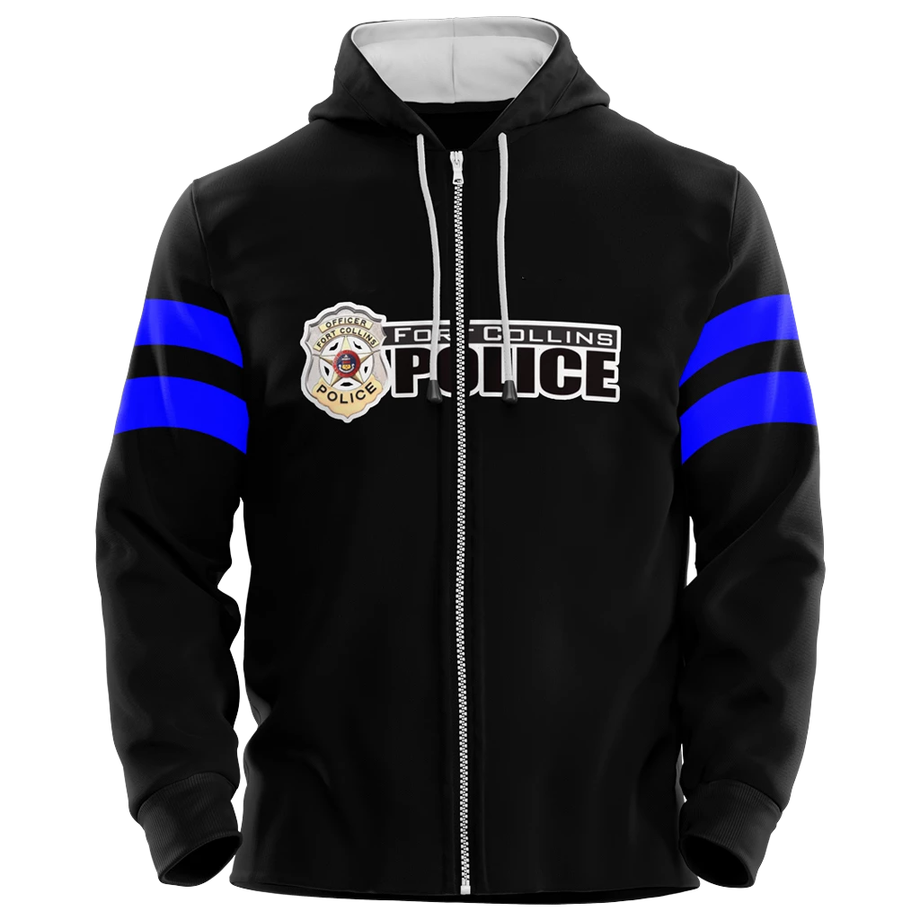 Fort Collins Police Department Custom Sublimated Full-Zip Hoodie