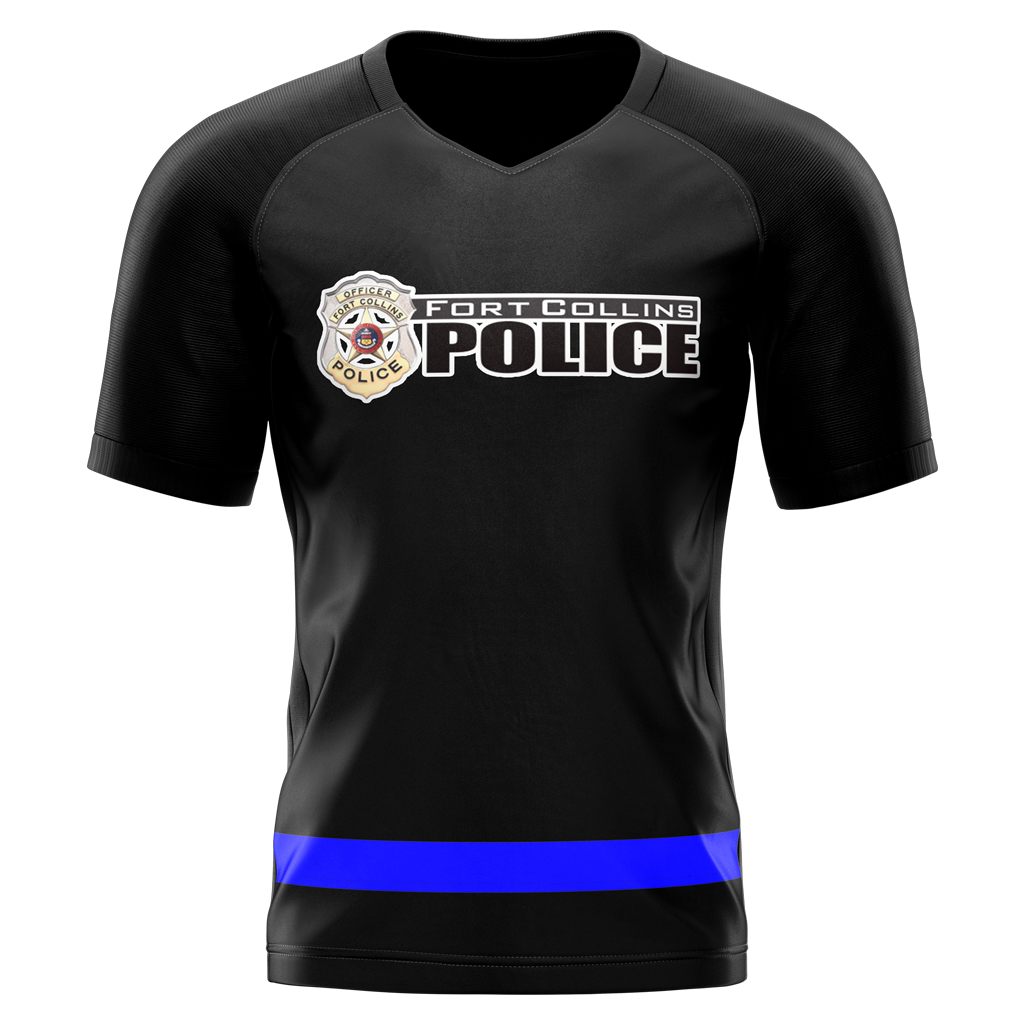 Fort Collins Police Department Custom Sublimated Home Short Sleeve Workout Shirt Option #2