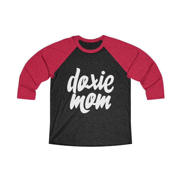 Doxie Mom Tri-Blend 3/4 Women's Raglan Tee for Dachshund Lovers - Happy Tails
