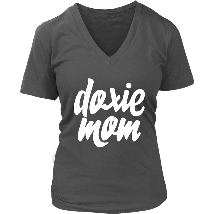 Doxie Mom Women's V-Neck Tee for Dachshund Lovers - Happy Tails