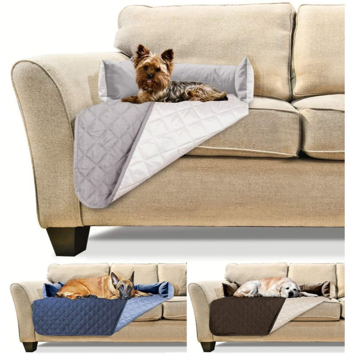 Furhaven Sofa-Style Pet Bed Furniture Protector for Dogs and Cats - Happy Tails