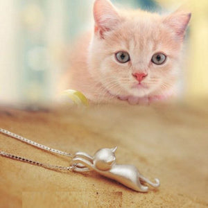 Silver Plated Necklace with Tiny Cute Cat Pendants - Happy Tails