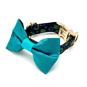 Satin turquoise circle collar & bow tie set - Happy Tails