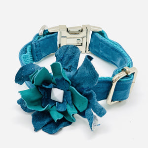 Turquoise blue soft suede & leather dog collar flower - Happy Tails