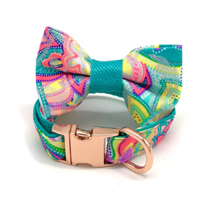 Shiny turquoise dog collar & bow tie set - Happy Tails