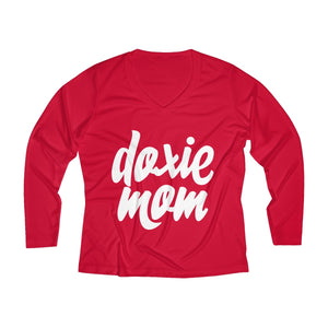 Doxie Mom Women's Long Sleeve Performance V-neck Tee for Dachshund Lovers - Happy Tails