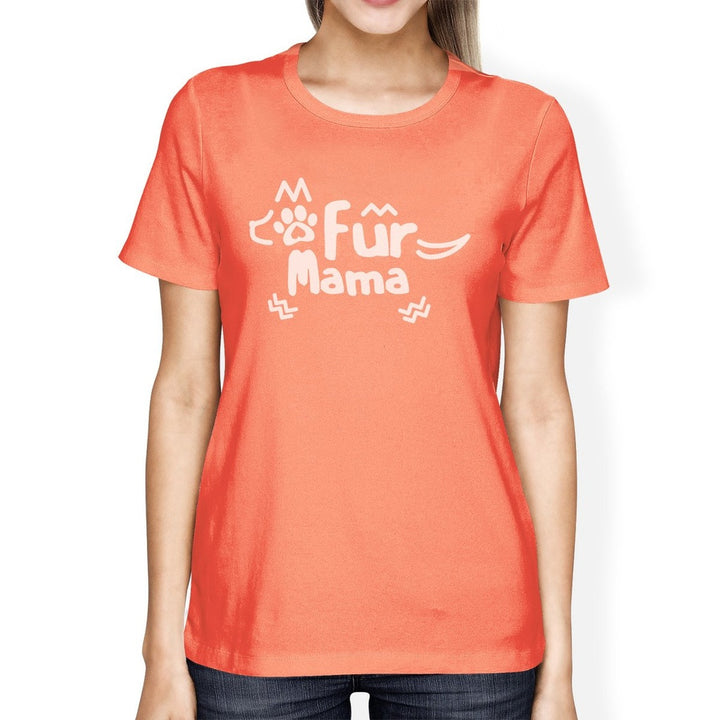 Fur Mama Womens Peach Round Neck Cotton T-Shirt - Happy Tails