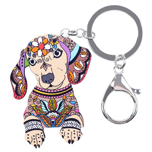 Multicolor Dachshund Key Chain - Happy Tails